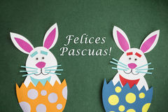 Funny handmade cartoon rabbits placed inside eggs and text in Sp. Anish `Felices Pascuas`, which means `Happy Easter holidays Stock Photo