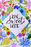 Funny handmade drawing of home sweet home. Hand lettering Royalty Free Stock Photos