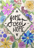 Funny handmade drawing of home sweet home. Hand lettering Stock Photos