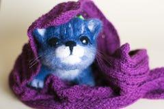 Funny handmade felt cat. Royalty Free Stock Photos