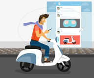 Funny handsome guy rides white bike Stock Photo
