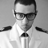 Funny handsome hipster groom (dude) in glasses Stock Photography