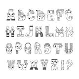 Funny handwritten cartoon alphabet. Cute characters letters. Stock Images