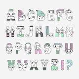 Funny handwritten colored doodle cartoon alphabet. Stock Photos