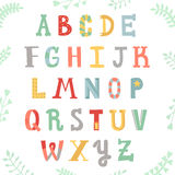Funny handwritten multicolored alphabet. Lettering with plants. Hipster and vintage style. Stock Photo