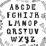 Funny handwritten textured ink alphabet. Lettering with plants and flowers. Hipster and vintage style. Stock Image