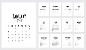 Funny Handwritten Vector Calendar. 2019 Year. Monthly 2019 Calendar. stock illustration