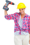 Funny handy woman with her power drill Stock Photos