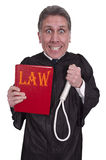 Funny Hanging Judge, Law, Order, Justice, Isolated. Funny look at law and justice. Hanging judge has a law book and rope hangman noose. Humor for the court Royalty Free Stock Image