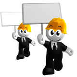 Funny and happy 3d icon holding blank sign. Illustration Royalty Free Stock Photo