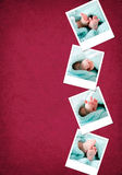 Funny happy baby feet polaroids Stock Photos