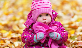 Funny happy baby girl child outdoors in the park in autumn Royalty Free Stock Photo