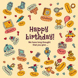 Funny happy birthday choice gift and presents greeting card Stock Photos