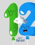Funny Happy birthday gift card number 12 balloons. The number for birthday greeting card. Vector graphics royalty free illustration