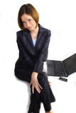 Funny happy business woman Stock Photos
