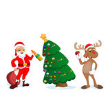 Funny happy cartoon Christmas Reindeer with Santa Claus Royalty Free Stock Photography