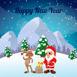 Funny happy cartoon Christmas Reindeer with Santa Claus Royalty Free Stock Photo