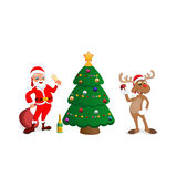 Funny happy cartoon Christmas Reindeer with Santa Claus Stock Image