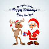 Funny happy cartoon Christmas Reindeer with Santa Claus Royalty Free Stock Images