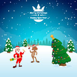 Funny happy cartoon Christmas Reindeer with Santa Claus Stock Photography