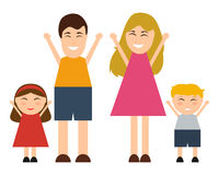 Funny happy cartoon family Stock Photos