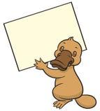 Funny happy cartoon platypus or duckbill Stock Photos