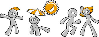 Funny happy characters fooling around under the sun. Royalty Free Stock Image