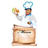 Funny happy Chef and menu bistro. On a white background Stock Images