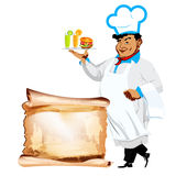 Funny happy Chef and menu bistro. On a white background Royalty Free Stock Photography