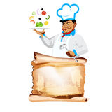 Funny happy Chef and vegetarian vegetable menu Royalty Free Stock Image