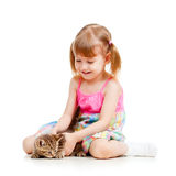 Funny happy child playing with cat kitten Stock Images