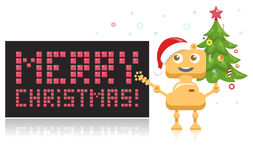 Funny and Happy Christmas Robot with Cute Christmas Tree. Xmas Greeting Card in Techno Style. Vector Illustration Stock Images