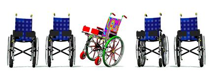 Funny and happy colorful wheelchair Stock Photography