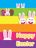 Funny Happy Easter card with bunnies. Royalty Free Stock Photo