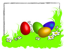 Funny happy easter frame. With spring green grass,  white daisies, 3D colored easter eggs and little rabbit hiding behind.  with a light gray charcoal frame and Royalty Free Stock Photography