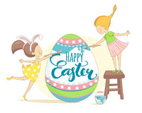 Funny Happy Easter greeting card with girls painting Easter egg. Royalty Free Stock Images
