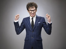 Funny happy evil genius stock photo