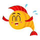 Funny happy golden, yellow fish character with human face laughing Royalty Free Stock Images