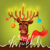 Funny Happy Hanukkah card. Cartoon, cute and happy Santa`s Christmas reindeer deer with antler in form of menorah. With candles, Christmas balls, red scarf Royalty Free Stock Photography