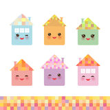 Funny happy house set, kawaii face, smile, pink cheeks, big eyes. pastel colors. Vector Stock Photography