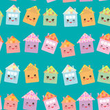 Funny happy house set, kawaii face, smile, pink cheeks, big eyes. seamless pattern, pastel colors on blue background. Vector Royalty Free Stock Photography