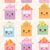 Funny happy house set, kawaii face, smile, pink cheeks, big eyes. seamless pattern, pastel colors. Vector Royalty Free Stock Images