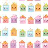 Funny happy house set, kawaii face, smile, pink cheeks, big eyes. seamless pattern, pastel colors on white background. Vector Stock Images