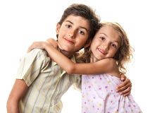 Funny happy kids hug Royalty Free Stock Photos