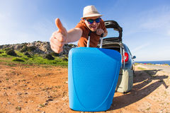 Funny happy man going on summer vacation. Car travel concept Royalty Free Stock Images