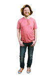 Funny happy man in a panama hat and jeans Royalty Free Stock Image