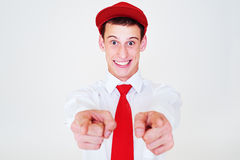 Funny happy man in red cap Stock Photos