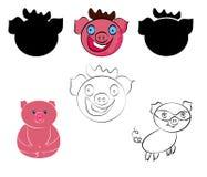 Funny happy pigs set. New Year Symbol. stock illustration