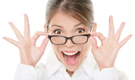 Funny happy portrait of woman wearing glasses royalty free stock photos