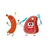 Funny happy sausage and meat steak characters, fast food concept Stock Photography